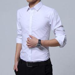 厂家直销 韩版修身 商务休闲 职业正装 男士衬衣 纯色长袖衬衫 白色 S