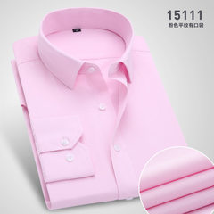 Spring and summer men`s large size shirt business professional suit solid color men`s trim customize 15111 38