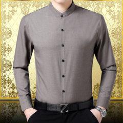 Spring 2018 high-class men`s long-sleeved shirts men`s business cotton mulberry silk shirt temperame 1821 khaki 165 - M - 105