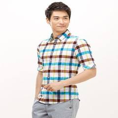 Haishaobiao men`s cotton and linen shirt middle sleeve simple fashion shirt new style business leisu In the 267 sleeve 38