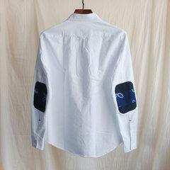 Japanese vintage original brand men`s wear spring 2018 new men`s shirt long-sleeve Oxford splicing 8 white s.