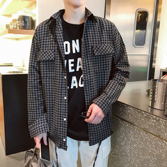 Spring 2018 plaid shirt fashionable male student couple wear new men`s long-sleeved loose spring har gray m