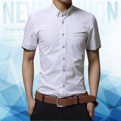 夏季男士短袖衬衫青年时尚衬衣纯棉修身韩版职业上装半袖印花寸衫 白色 M