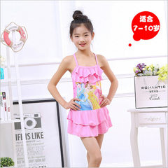 Wholesale new style children`s swimsuit body swimsuit small middle school girls lovely cartoon swims pink l