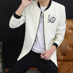 Jacket men`s spring wear Korean version of the trend slim and handsome men`s baseball clothes 2018 s white m