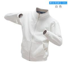 秋装新款男式夹克定做DIY韩版拉链潮款情侣服长袖工作服定制印字 白色 S