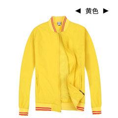 秋冬男女防风防水棒球夹克定制街舞外套双层立领飞行夹克加印logo 黄色 48