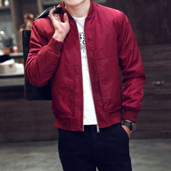 Jacket men`s jacket fall 2016 new ultra-thin coat summer and fall casual clothes men`s jacket trend red m