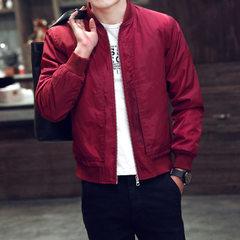 外套男装夹克秋季2016新款超薄款外衣夏秋季休闲上衣服男士夹克潮 红色 M