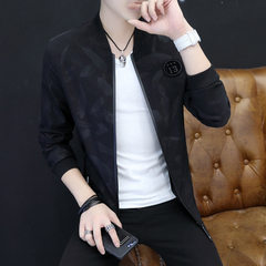 Men`s coat 2018 spring new thin trend spring and autumn, Korean version of handsome youth spring coa black m