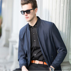 The new men`s jacket in the autumn of 2017 has a vertical collar, zipper, middle and old men`s jacke A8 navy blue m