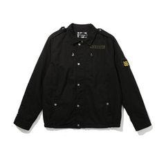2018春季男士黑色拉链贴布夹克翻领潮流复古青年工装外套男 黑色 M