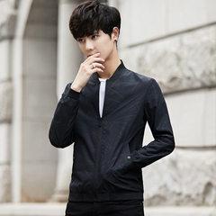 Men`s coat spring and autumn 2018 new Korean style spring casual trim handsome baseball jacket men`s black m