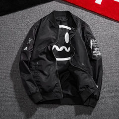 Spring 2018 Korean version of two-sided pilot jacket men`s baseball neck jacket lovers` two-sided ca black m