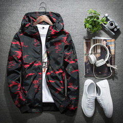 Spring and autumn new men`s coat spring style hooded jacket men`s youth camouflage coat Korean versi red m