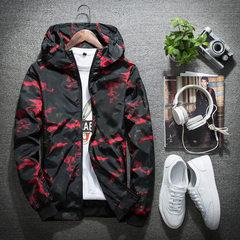春秋季新款男士外套春款连帽夹克男装青少年迷彩外衣韩版修身上衣 红色 M