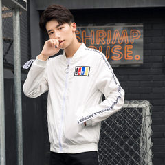 Men`s autumn jackets, slim and embroidered, flight jackets, hipster men`s day jackets, spring and au white m