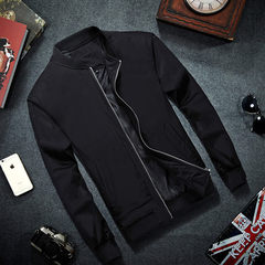 2018 new spring and autumn jacket men`s jacket vertical collar trim casual jacket jacket, Korean ver black l