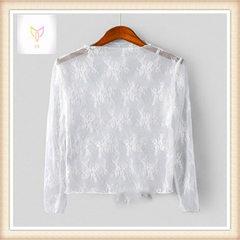 2018新款甜美长袖镂空蕾丝衫打底衫内搭超仙气质小衫女上衣蕾丝衣 白色 S
