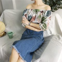 Ulzzang Korean version of chiffon tropical plant Hawaiian chiffon print top shoulder 2018 white All code