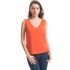 2018新品 V领无袖后背镂空设计性感雪纺衫 橘色 S