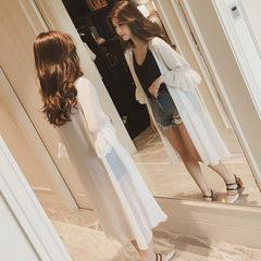 2018夏季新款韩版女装中长款防晒衣雪纺开衫 薄喇叭袖透气披肩外 白色 S
