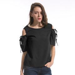 2018新款欧美 露肩后背镂空纽扣短袖蝴蝶结雪纺衫 wish爆款ebay 黑色 S