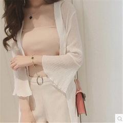 2018夏季新款女装纯色宽松中长款外套百搭学生雪纺防晒衣女 白色 S