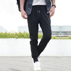 男式运动休闲裤韩版修身长裤子男士黑色弹力百搭束脚长裤厂家批发 黑色 M