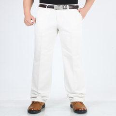 夏季薄款中年男士商务休闲裤高腰宽松纯棉男裤直筒长裤子抗皱百搭 808-1米白色 29码2尺2腰围