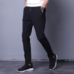 Summer men`s casual pants loose-fitting sports pants the Korean version of the trend casual men`s tr black 28