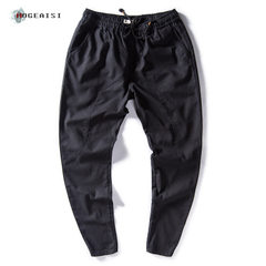 Spring and summer 2018 new Chinese style flax pants men`s casual thin straight nine-point pants cott black m