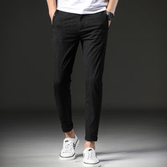 Light luxury men`s spring and summer new style 9 minutes trousers men`s small feet slender casual pa black 28