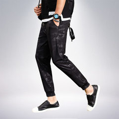 Summer men`s camouflage casual pants trend dry sports pants belted harem pants Korean version slim b Black camouflage m