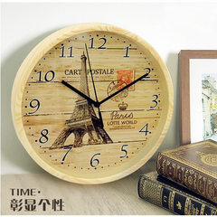 10 - inch imitation wood - grain silent wall clock refreshing quiet artistic wall clock creative per Style 1