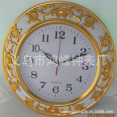 Plastic quartz garden wall clock welcome customers to yiwu hongfeng clock factory mold/LOGO custom golden