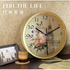 Factory direct selling creative imitation wood grain 10 inch large wall clock quiet living room wall white