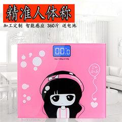 精准体重秤 卡通电子秤家用人体健康称 定制批发 小女孩樱花粉包装