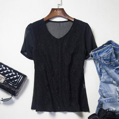 Super low price - feedback new and old customers limited number of summer lace chiffon shirt patchwo black s.