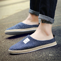 Summer men`s shoes men`s flat smile half supported loafers flax heels men`s straw men`s casual shoes blue 39