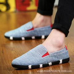 Factory direct sale summer fishermen`s shoes linen tide shoes canvas tide men`s casual shoes trend l blue 39