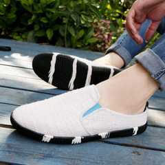 Wholesale flax half support tide shoes men`s breathable foot pedal soft bottom drive leisure casual  white 39
