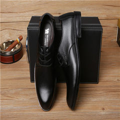 New style fashionable business casual men`s shoes British fashion pointy line with genuine leather s black 38