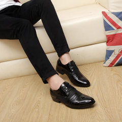 New style 2018 autumn and winter men`s shoes young pointed men are wearing shoes 45-46-47-48 a hair  black 38