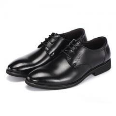 Spring and autumn men`s leather shoes business dress shoes men with coarse heel fashion single shoe  9899 black 37