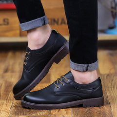 Spring new style men take fashion casual shoes waterproof business department with leather shoes fou 4001 black 39