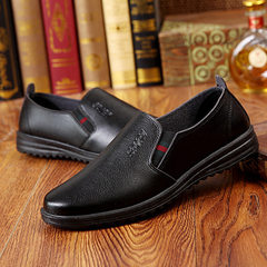 2017 new men`s casual black business shoes working shoes hotel working shoes father shoes with light black 39