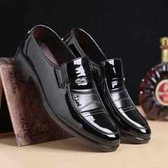 New style fashionable men`s shoes men`s shoes men`s shiny Korean version of men`s casual shoes cross black 38