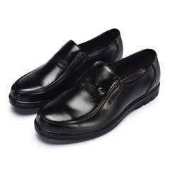 New style men`s single shoes round head thick bottom anti-skid business casual shoes men`s leather l 6038 black 38