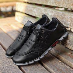 男士商务休闲鞋 2017秋季新款男鞋韩版潮流透气皮鞋厂家一件代发 黑色 39